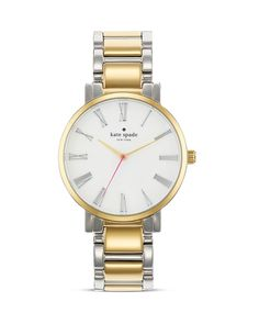 kate spade new york Large Two Tone Roman Numeral Gramercy Watch, 38mm from Bloomingdale's on shop.CatalogSpree.com, your personal digital mall.