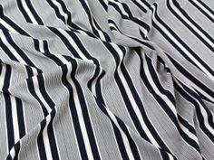 Spanish Thick n Thin Stripe Stretch Crepe Dress Fabric   Fabric   Dress Fabrics   Minerva Crafts