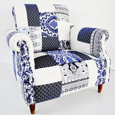 SALE: blue & white porcelain patchwork armchair from name design studio.