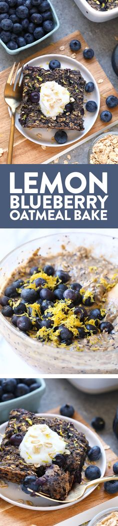 This delicious lemon blueberry baked oatmeal recipe screams spring with the combination of fresh blueberries and lemon zest. This delicious vegan oatmeal bake is made in under an hour and has whole grains and no r Gluten Free Recipes For Breakfast, Healthy Breakfast Recipes, Brunch Recipes, Healthy Recipes, Nutritious Breakfast, Healthy Breakfasts, Vegan Baked Oatmeal, Baked Oatmeal Recipes, Baked Oats