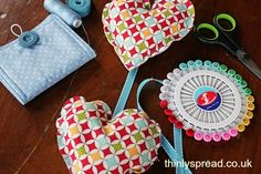 Super cute little heart decorations - a great first sewing project for kids too!