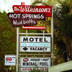 """Dr. Wilkinson's Hot Springs Resort was founded in 1952 by John """"Doc"""" and Edy Wilkinson. Mud Bath, mineral tub, and hotel in Calistoga, California"""