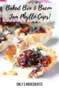Holiday Appetizers Phyllo Baked Brie 54 Ideas For 2019 Phyllo Appetizers, Phyllo Recipes, Brie Appetizer, Holiday Appetizers, Bacon Recipes, Appetizer Recipes, Holiday Recipes, Recipes Using Bacon Jam, Christmas Recipes