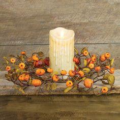 Pillar Candle Ring Mini Wreath Pumpkin Primitive Fall Floral Decor 6.5 inch #HoneyandMe #RusticPrimitive #Fall Primitive Fall Decorating, Primitive Halloween Decor, Halloween Home Decor, Halloween House, Halloween Decorations, Candle Rings, Mini Pumpkins, Pillar Candles, Small Wreath