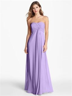 Popular Lilac Strapless Empire Pleatings Dropped A-line Chiffon Prom Dress PD2476