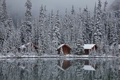Rustic Cabins of Lake O'Hara Lodge in Snow by Lee Rentz, via Flickr