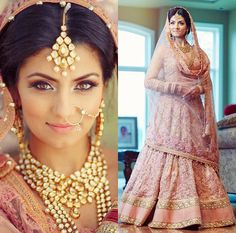 Golden Makeup and Jewelry with Embroidered Soft Pink Bridal Lehenga Indian Bridal Wear, Asian Bridal, Indian Wedding Outfits, Wedding Attire, Indian Outfits, Indian Weddings, Bride Indian, Indian Wear, Desi Bride