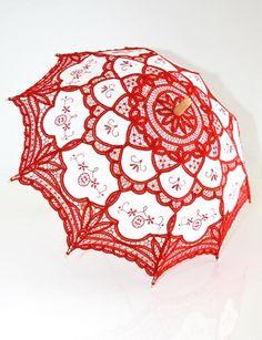 ♥ umbrella red and white