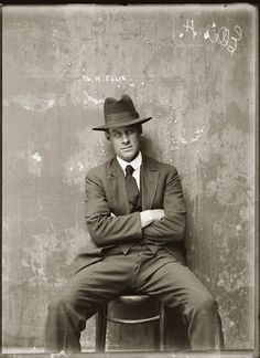 Herbert Ellis, mug shot in Sydney, Australia, circa 1920. The precise circumstances surrounding this picture are unknown, but Ellis is found in numerous police records of the 1910s, 20s and 30s. He is variously listed as a housebreaker, a shop breaker, a safe breaker, a receiver and a suspected person.  And somebody with a certain amount of attitude.
