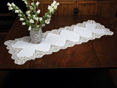 Tavola Bella - Luxury Table Runners - The most decorative toppings for tables, sideboards, dressers or wherever you want a delightful touch, our fine White Italian runners are available in five favored sizes