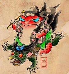 Tattoo Japanese Style, Japanese Tattoo Designs, Traditional Tattoo Flowers, Neo Traditional Tattoo, Frog Tattoos, Mini Tattoos, Japanese Culture, Japanese Art, Dragon Tattoo Art