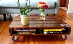 Wonderful rolling out wooden pallet table