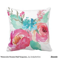 Watercolor Peonies Pink Turquoise Summer Bouquet