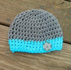 Handmade, Crochet Gray and Teal Newborn boy hat with a button, Boy Hat, Photo prop, Crochet Hat