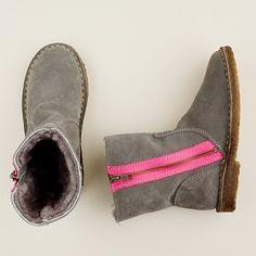 girls' neon zipper chalet boots