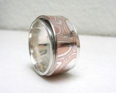 Mokume Gane Sterling Silver Spinner Ring Worry by Stilosissima