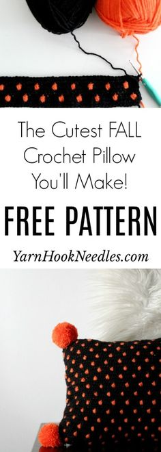Make the easiest Fall Crochet Pillow with This FREE Pattern! - YarnHookNeedles The Effective Picture Crochet Pillow Pattern, Crochet Cushions, Tapestry Crochet, Crochet Motif, Free Crochet, Crochet Fall, Crochet Home, Crochet Kitchen, Halloween Crochet Patterns