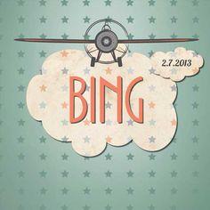 Stoer geboortekaartje voor een stoere jongen. Met sterretjes en een vliegtuigje. Mooi uitgevoerd in oude mint kleur