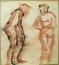 """two #gesture nudes"" by ruth freeman #conte #sticks 15 1/2""  x  17 1/4"",  View more on the LINK: 	http://www.zeppy.io/product/gb/2/171323883583/"