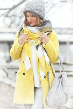 yellow coat outfit, galant girl winter outfit,