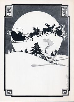 Christmas illustration by Emanuel Schongut for New York Times Book Review advertising department, 1970s