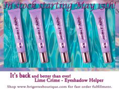 Announcing Lime Crime Eyeshadow Helper Relaunch set for May 15, 2014. Shop with us for fast order fulfillment. Limited quantity available. #LimeCrime #brigettesboutique