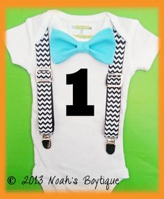 1st Birthday Number One Outfit - Boys First Birthday Outfit - Black Number One - Chevron Suspenders - Aqua Bow Tie  - Cake Smash - Shirt