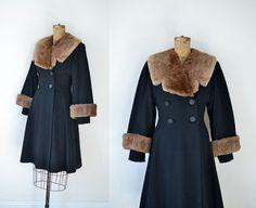 1940s Princess Coat / 40s Black Wool Coat Fur by FemaleHysteria