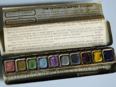 The circa 1914 Munsell Water Colors paint set with 10 colors, a brush and info sheet