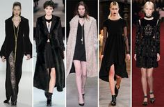 The Craft-like Goth; From left: Mark and Estel, Emporio Armani, Marios Schwab, Katie Gallagher and Erdem.