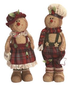 Plush Standing Gingerbread Figurine - Set of Two