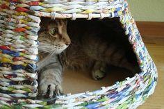 Tuto cabane pour chat recyclée - vieux magazines via Idée Créative