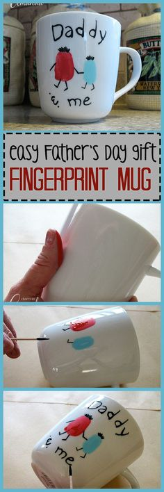 Use your child's fingerprints and paint to make a useful keepsake Father's Day mug. This simple but adorable fingerprint Daddy & Me mug says it all! Great for Father's Day or a birthday and perfect for taking to the office.