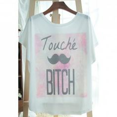 $6.38 Letter Print Cotton Blend Refreshing Style Scoop Neck Bat-Wing Sleeves T-Shirt For Women