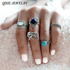 QIHE JEWELRY 5pcs/set Bohemian Style Elephant Turquoise Stone Silver Color knuckle Midi Ring Set BOHO Beach Jewelry