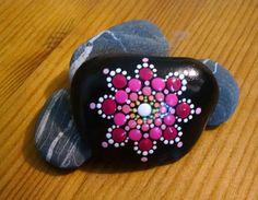 Beach Stone ~ Hand Painted by Miranda Pitrone ~ Pink Flower Mandala ~ Pebble Art ~ Dot art ~ Fairy Garden decor ~ by P4MirandaPitrone on Etsy