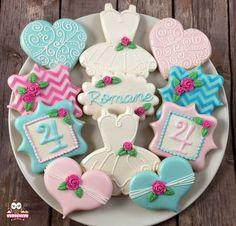 Pretty Birthday Cookies, Heart Cookies, Chevron Cookies, Tutu Cookies, Rose cookies