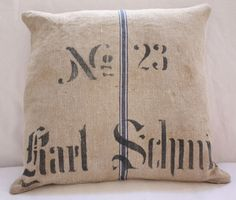 Antique German Grain Sack Pillow Karl Schmit by ElegantFarmhouse, $195.00