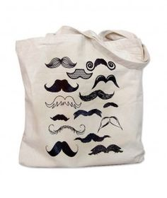 """""""Mustache Collection Tote Bag"""".     You know me… I love anything #geek.  And this mustache tote is pretty darn geeky!    This tote bag's screenprint boasts 15 different mustaches – everything from handlebar to chaplin.  The Mustache Collection image is screenprinted in dark brown ink onto a canvas tote.    The tote measures 15 inches wide, 16 inches tall, and has 22 inch handles.  It is selling on #Etsy.com for $9.00."""