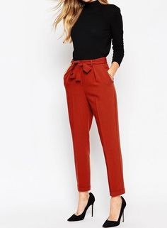 Peg Pants with Obi Tie ASOS women's business casual pants in red with tie around waist.ASOS women's business casual pants in red with tie around waist. Business Outfit Frau, Business Casual Attire, Business Outfits, Business Fashion, Office Attire, Women Business Casual, Corporate Attire, Business Clothes For Women, Business Professional Attire
