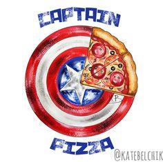 Captain pizza #marvel #art #dccomics #ironman #batman #captainamerica #avengers #sweet #darwing #katebelchik #belkashop #icecream #donut #pizza