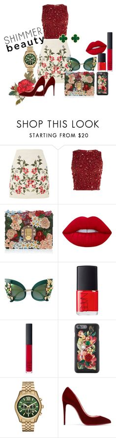 """Untitled #4"" by trishla-jain on Polyvore featuring Topshop, Lace & Beads, Dolce&Gabbana, Lime Crime, NARS Cosmetics, Michael Kors, Christian Louboutin and Van Cleef & Arpels"
