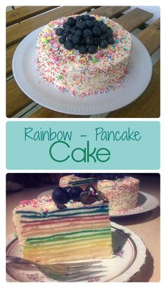 Rainbow Cake ❤ Awesome rainbow cake with sprinkles and colorful pancakes. A lovely birthday party cake