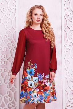 fcba0c437f3 Женския Платье Тана-3Б КД д р бордовый букет больших размеров купить в  интернет