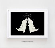 Dino hug - art print - ilovedoodle - The visual art of Lim Heng Swee
