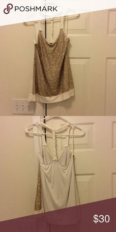 Sequined gold braided back too Gold and white top with braided t back Express Tops Tank Tops