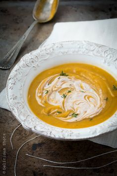Curry butternut squash soup with spiced goat cheese