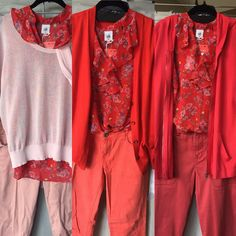 Heart of cabi Crush Top as a pink, an orange-red, and a blue-red...!!!  A - S17 Gossamer Sweater and S15 Nectar Skinnies B - F16 Fiery Cobblestone and S14 Pigment Jeggings C - S17 Beachcomber Hoodie and Red Hutton Trousers