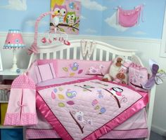 #trendy #This beautiful Baby Crib Bedding Set comes with these 10 pieces: Comforter, Dust Ruffle, Fitted Crib Sheet, crib Bumper liner , Baby Bib, Toy Bag, 2 Val...