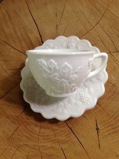 Westmoreland Glass Co Milk Glass cup and saucer by Heitur on Etsy, $8.00